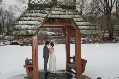 Bride and Groom in Central Park in the snow